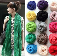 Womens Girl Soft Candy Colors Long Crinkle Scarf Wrap Voile Wraps Stole Shawl