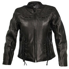 Xelement Women Black Leather Flower Riding Motorcycle Jacket For Harley (S-XXL)
