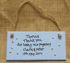 Peronalised Page boy present gifts Usher Favour Thank you Plaque sign Wedding