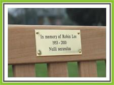 """6 x 3"""" ENGRAVED POLISHED BRASS BENCH PET MEMORIAL PLAQUE SIGN"""