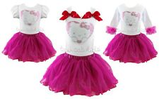 Hello Kitty Pettiskirt Tutu Set Princess Sweetheart Birthday Pageant NWT Sz 1-7Y