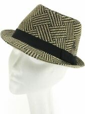 BLACK & CREAM TRILBY HAT RAFFIA STRAW STYLE WITH BLACK BAND AND FEATHER