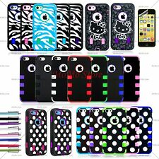New Colorful Heavy Duty Hybrid Rugged Hard Case Cover For iPhone 5C C +Film +Pen
