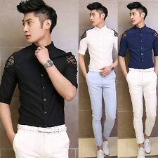 Hot Trend Europe Style Mens Sexy Lace Stitching Slim Fit Casual Shirts 3 Colors
