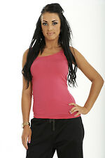Ladies Plain Vest Top Casual Gym Running Womens Sleeveless Stretch Cotton