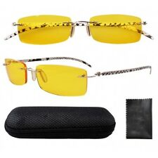 Rimless Leather Temples Yellow Lens Night Vision Driving Glasses