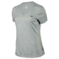 Nike 457355-063 WOMENS Dri-Fit Legend V-NECK Polyester T-Shirt GREY $25