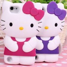 For Apple IPod Touch 5 T5 Soft Silicone 3D Hello Kitty case cover + Free Gift