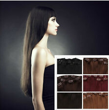 "16"" CLIP IN REMY100%Real HUMAN HAIR EXTENSIONS Clips Hair 8 PCS120g"