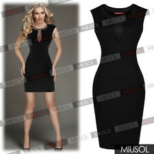 Women's Sexy Sleeveless Mesh Insert Stretch Bodycon Short Cocktail Party Dresses