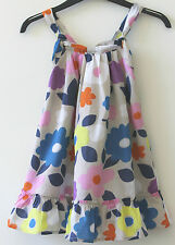 Girls Ex Mini Boden Grey Floral Sun Dress  2-3, 3-4, 4-5, 5-6, 7-8, 9-10 NEW