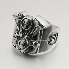 V2 Skull Motorcycle Engine 316L Stainless Steel Mens Biker Ring 4C008