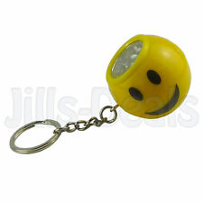 SMILEY FACE KEYCHAIN 6 LED NOVELTY KEYRING BALL SPHERE KIDS ADULTS FUN ACCESSORY