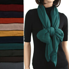 A588 Solid 100% polyester chiffon Scarf NEW wrap pareo Dark color made in KOREA