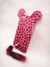 3D Leopard Animal Fur Tige Tail Case Cover Skin For cell MOBILE PHONES