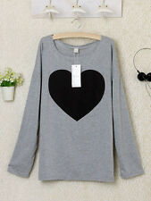 New Stylish Heart Printed Women Round Neck T-shirt Tops Tees Blouse S-XL
