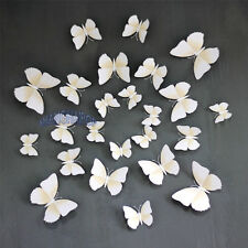 12 X Butterfly Wall Fridge Curtain Stickers Home 3D Decal Art Decor DIY White