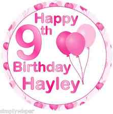 Pink Happy Birthday Balloon Personalised Icing Cake Topper girl woman Decoration