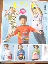 NEW McCall's Pattern M6545 Boy's & Girl's Sz. 2-8 Tops with Applique UNCUT