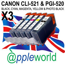 3 SETS of CLI521 & PGI520 CHIPPED Ink Carts compatible with CANON PIXMA printers