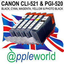 5 CLI521 & PGI520 CHIPPED Ink Cartridges compatible with CANON PIXMA printers