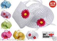 HOT Baby Girl Kids Straw Flower Sun Cap Child Summer Party Beach Hat + Bag Set