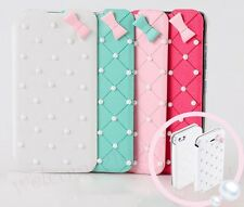Girly Cute Bowknot Pearl Flip Case Cover For Samsung Galaxy S3 S4 Note2 Note3