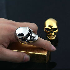 Men's Huge Gothic Punk Rocker Biker Vintage 316L Stainless Steel Skull Head Ring