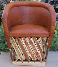 Cushioned Rustic Mexican Leather Back Chair