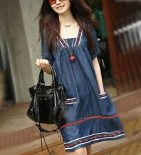 Pregnant Dress Women Clothes Summer Soft Denim Short Sleeves New 2014