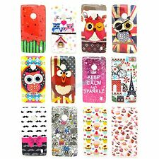 Cute Owl Eiffel Tower Soft TPU Gel Case Cover for Nokia Lumia 520 N520
