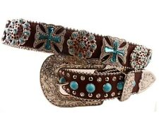Brown Western Rhinestone Cowgirl Turquoise Bling Belt Concho Studded Leather New