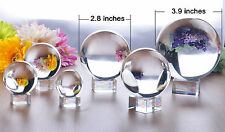 1.6-7.9 Inches Asian Magic Performance Clear Crystal Ball Sphere 40-200MM +Stand