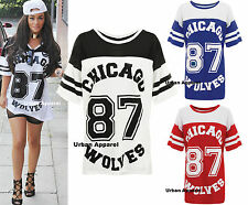 NEW LADIES CELEB STYLE CHICAGO 87 AMERICAN HOCKEY JERSEY T-SHIRT WOLVES TOP 8-20