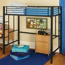 Twin Size Metal Loft Bed & MATTRESS Bunk Bed Bunkbed Safety Ladders & Rails NEW