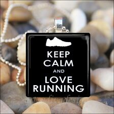 """""""KEEP CALM AND LOVE RUNNING"""" RUNNER EXERCISE MOTIVATIONAL GLASS PENDANT NECKLACE"""