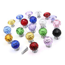 30/40MM Crystal Glass Handle Diamond Door Drawer Cabinet Furniture Kitchen Knobs