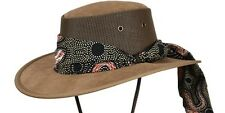 Barmah Foldaway Ladies Cooler Cattle Suede Leather Hat with Aboriginal Scarf