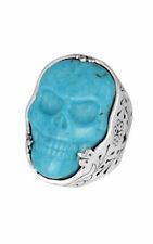 King Baby Studio Turquoise Classic Skull Ring Silver .925  K20-5701