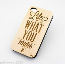 W167 REAL WOOD CASE COVER FOR IPHONE 5C LIFE IS WHAT YOU MAKE IT be free happy