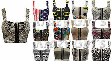 New Womens Boobtube Strappy Printed Zip Bralet Crop Top Bra Ladies Size S/M M/L