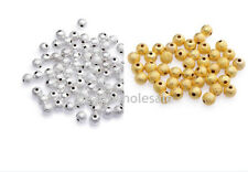 Wholesales 100/500pcs Silver&Golden Stardust Copper Ball Spacer Beads For Craft