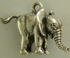 Baby Elephant 3D Necklace w/Charm Jewelry ~.925 Sterling Silver- Microsculptures
