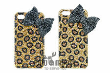 Luxury Gold Rhinestone Leopard Crystal 3D Bow Knot Case for iPhone