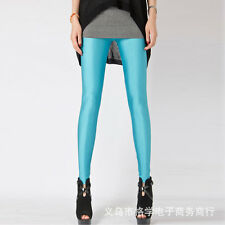 Women Neon Candy Shiny Bright Fluorescent Glow Stretch Tights Leggings Pants