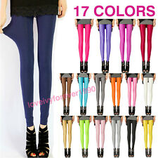 Women Neon Candy Shiny Bright Fluorescent Glow Stretch Leggings Pants 17 colors
