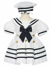 Baby Girl & Toddler Formal Sailor Party Dress WHITE/NAVY 3 Months & 4 Toddler