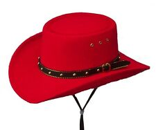 Western Midlands Faux Felt Gambler Cowboy Hat Men Woman Kids Red - S,M,L,XL Size