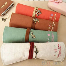 B92U Soft Roll Up Stationery Pouch Brushes Holder Cosmetic Bag Pen Pencil Case