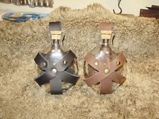Potion flask to put on a belt, glass bottle with leather support, SCA, LARP